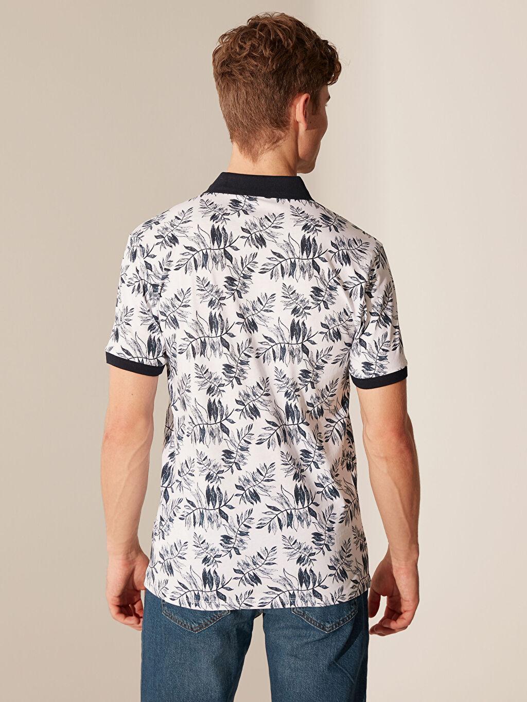 %100 Pamuk Polo Yaka Desenli Penye Tişört