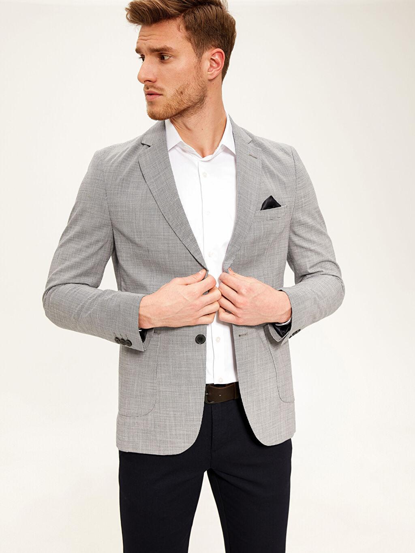 %100 Pamuk %100 Polyester  Dar Karıp Kaz Ayağı Blazer Ceket