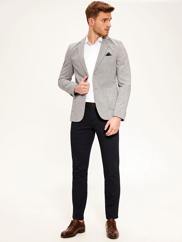 %100 Pamuk Dar Karıp Kaz Ayağı Blazer Ceket