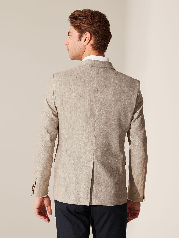 Erkek Dar Kalıp Keten Blazer Ceket