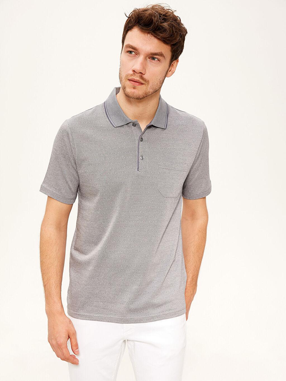 %100 Pamuk Düz Bol Kısa Kol Tişört Polo Polo Yaka Merserize Tişört