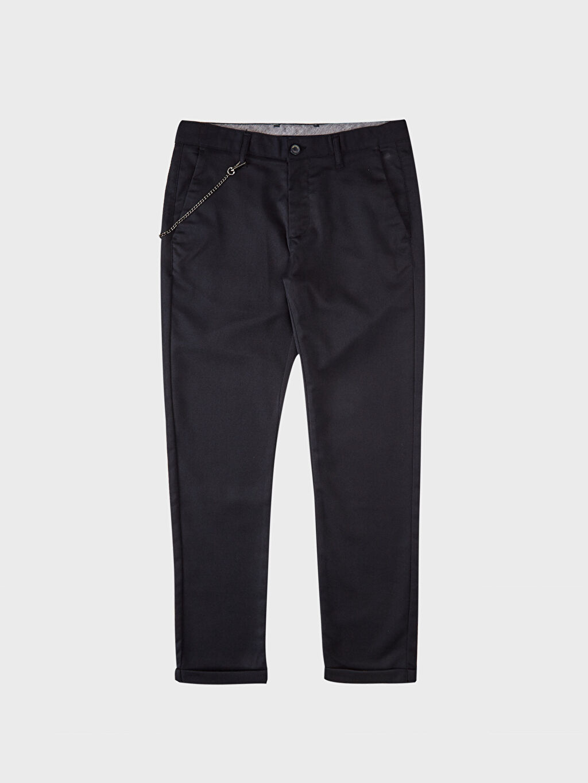 %71 Polyester %28 Viskoz %1 Elastan Slim Fit Poliviskon Pantolon