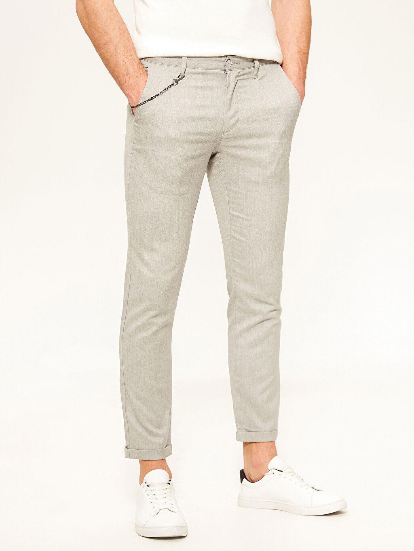 %71 Polyester %28 Viskoz %1 Elastan Dar Normal Bel Pilesiz Pantolon Slim Fit Poliviskon Pantolon