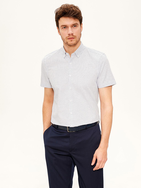 Beyaz Slim Fit Desenli Kısa Kollu Gömlek 0SH298Z8 LC Waikiki