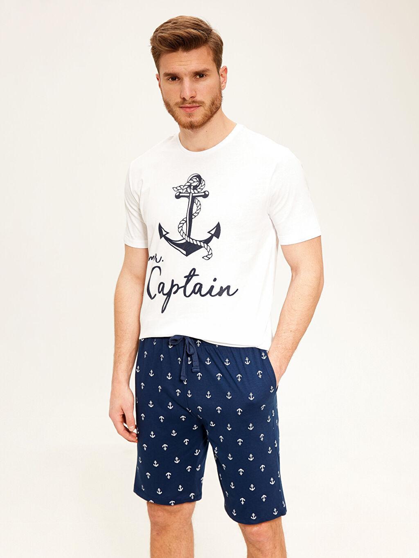 %100 Pamuk Pijamalar Standart Standart Kalıp Şortlu Pijama Takımı