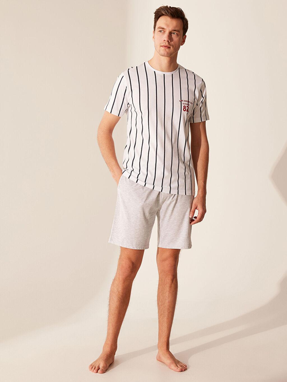Beyaz Standart Kalıp Çizgili Pijama Takımı 0SH652Z8 LC Waikiki