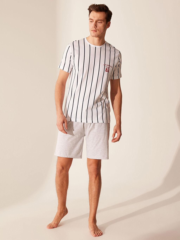 %100 Pamuk Standart Pijamalar Standart Kalıp Çizgili Pijama Takımı