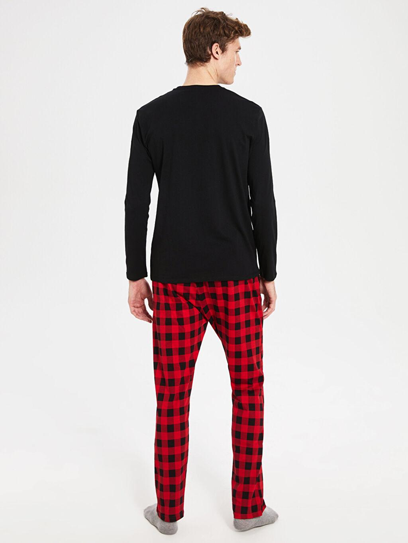 %100 Pamuk Yazı Baskılı Ekose Pijama Takımı