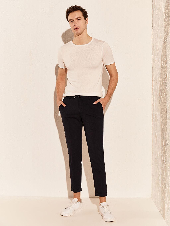 Lacivert Slim Fit Poliviskon Crop Pantolon 0SH700Z8 LC Waikiki