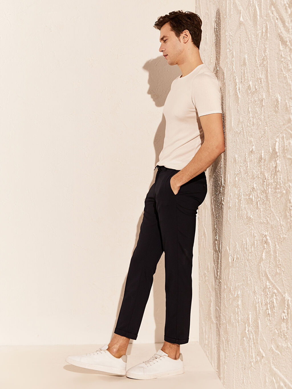 %66 Polyester %2 Elastan %32 Viskon Normal Bel Dar Pileli Pantolon Slim Fit Poliviskon Crop Pantolon