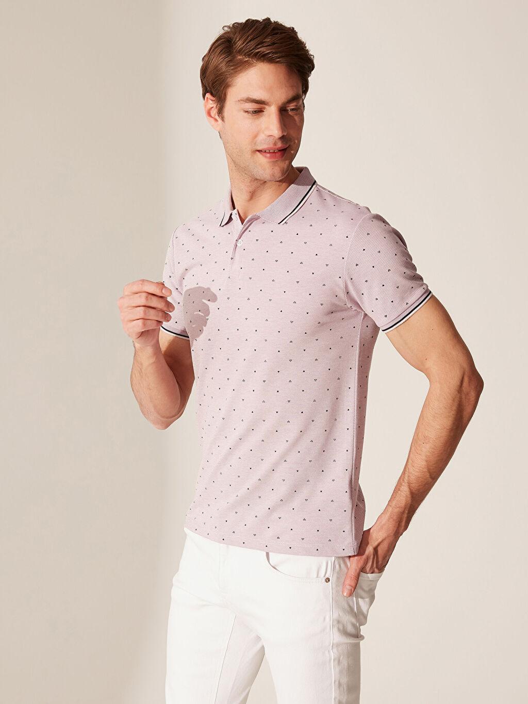%52 Pamuk %48 Polyester Dar Baskılı Kısa Kol Tişört Polo Polo Yaka Puantiyeli Tişört