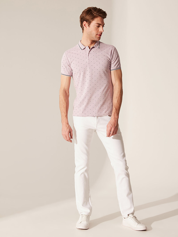 %52 Pamuk %48 Polyester Polo Yaka Puantiyeli Tişört