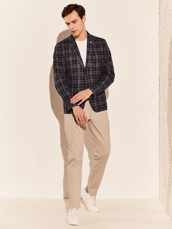 %60 Polyester %3 Elastan %37 Viskoz Normal Kalıp Ekose Blazer Ceket