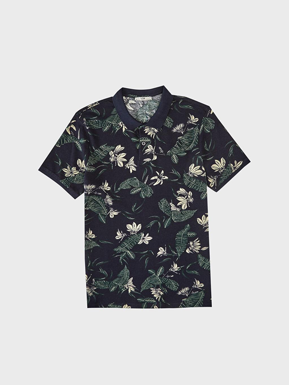 Lacivert Polo Yaka Desenli Tişört