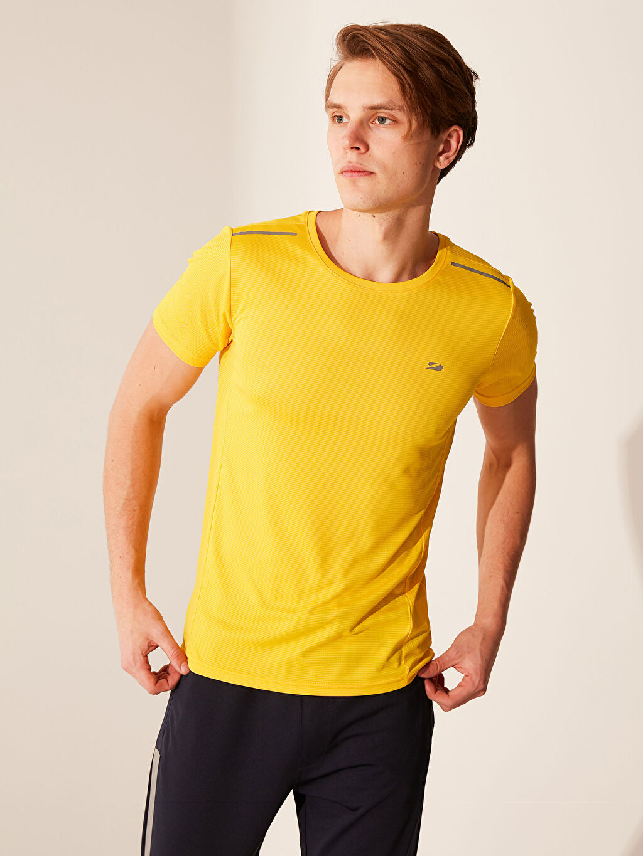 Sarı Bisiklet Yaka Basic Aktif Spor Tişört 0SH825Z8 LC Waikiki