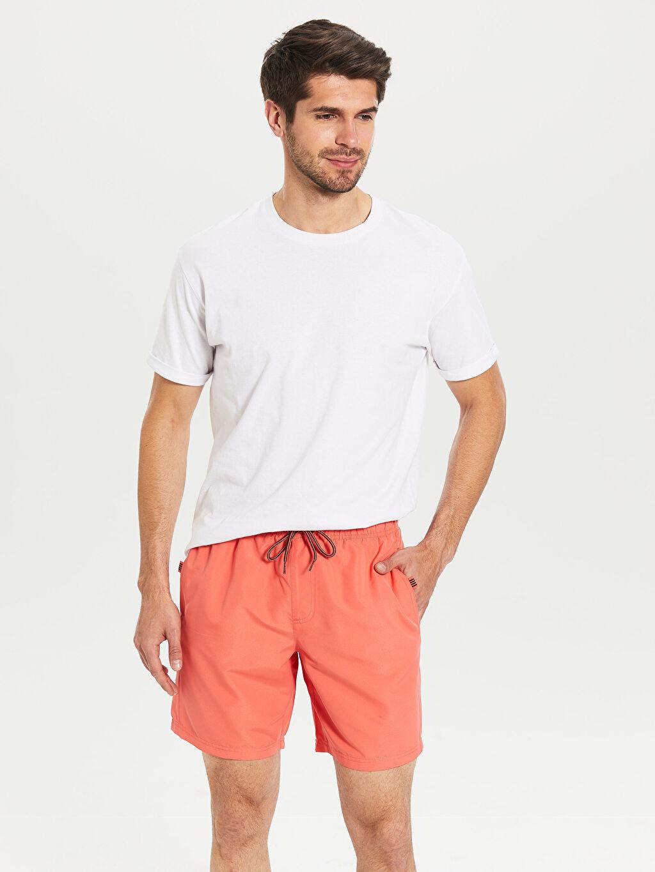 %100 Polyester %100 Polyester  Diz Üstü Boy Basic Deniz Şortu