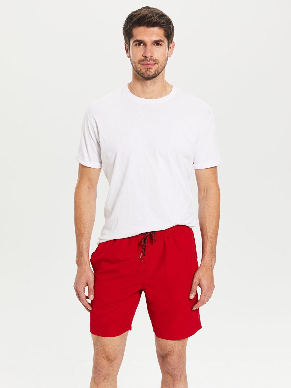 Kırmızı Diz Üstü Boy Basic Deniz Şortu 0SH941Z8 LC Waikiki