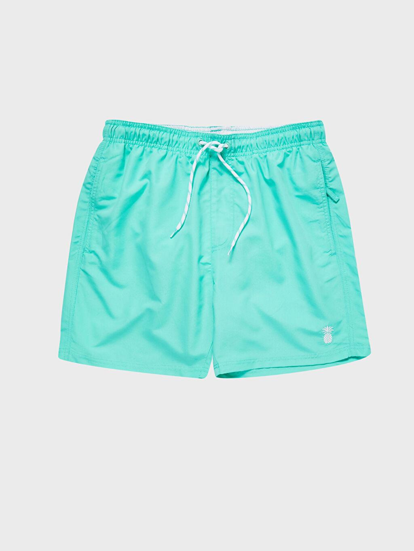 %100 Polyester Diz Üstü Boy Basic Deniz Şortu