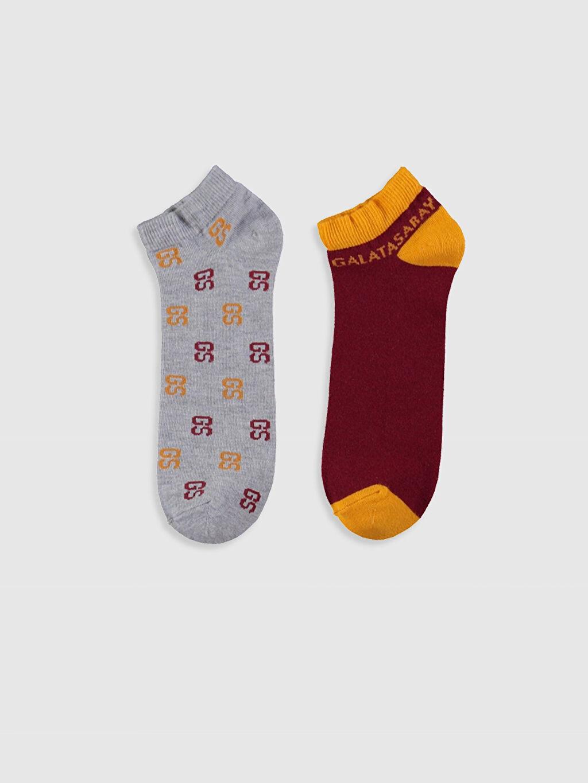 %46 Pamuk %22 Polyester %30 Poliamid %2 Elastan  Galatasaray Baskılı Patik Çorap 2'li