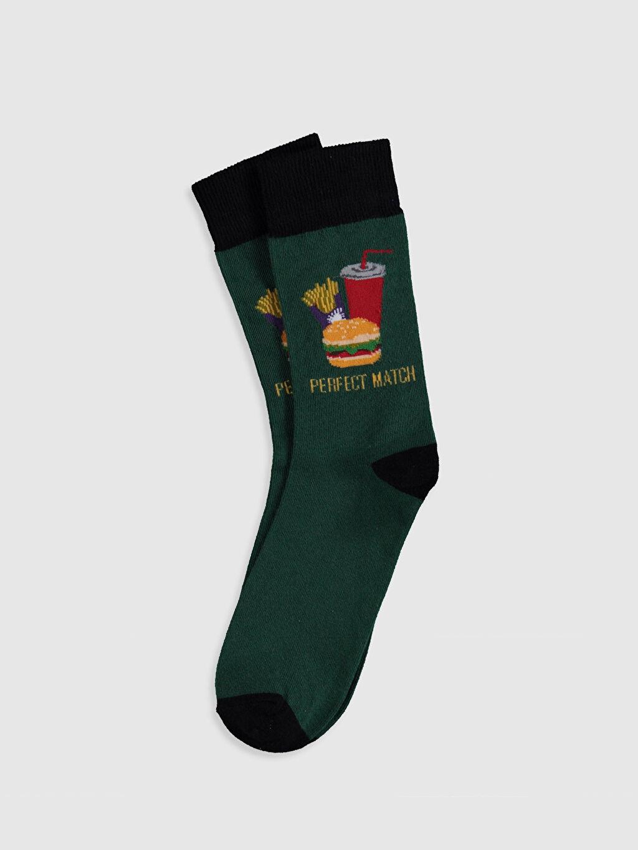 Yeşil Baskılı Soket Çorap 0SJ014Z8 LC Waikiki