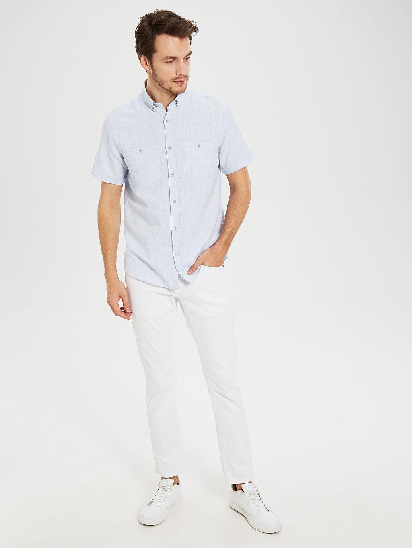 %100 Pamuk Regular Fit Kısa Kollu Basic Gömlek