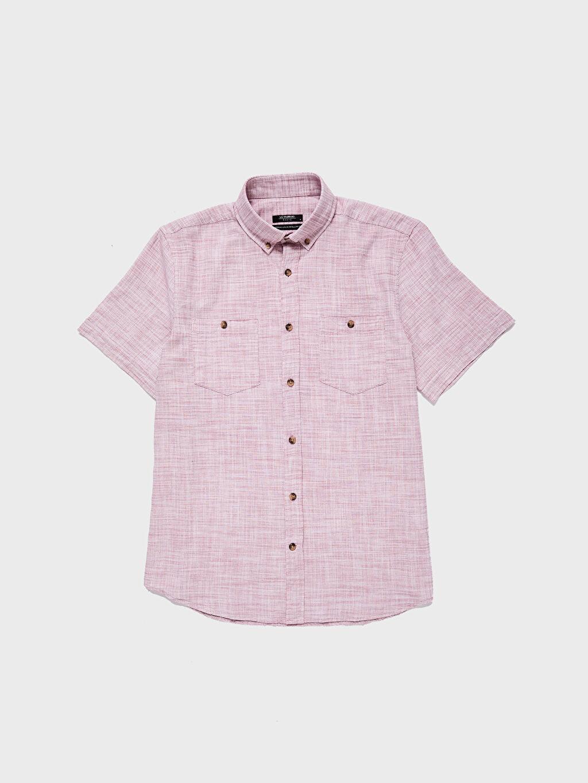 LC Waikiki Kırmızı Regular Fit Kısa Kollu Basic Gömlek