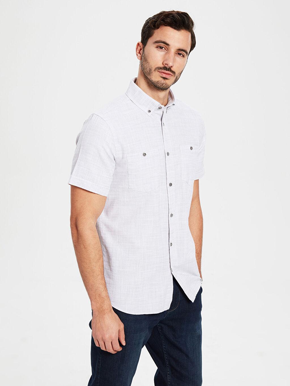 %100 Pamuk Normal Düz Kısa Kol Gömlek Düğmeli Regular Fit Kısa Kollu Basic Gömlek