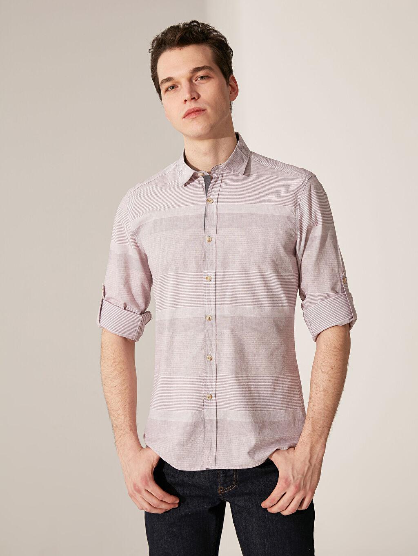 %100 Pamuk Çizgili En Dar Uzun Kol Gömlek Düğmesiz Ekstra Slim Fit Çizgili Gömlek