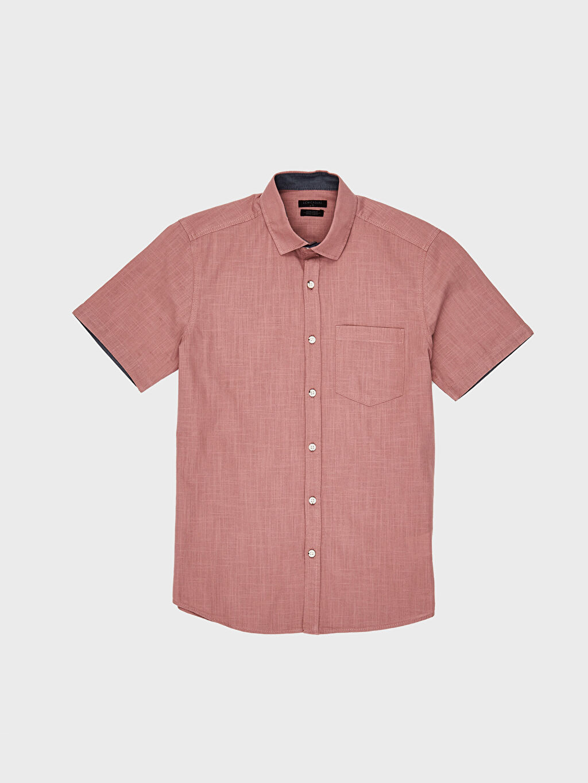 %100 Pamuk Ekstra Slim Fit Kısa Kollu Gömlek