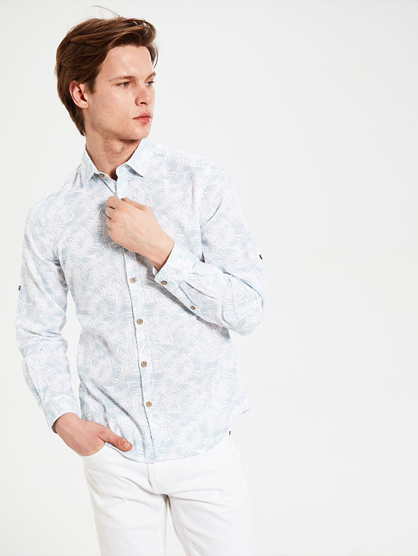 Erkek Ekstra Slim Fit Desenli Gömlek