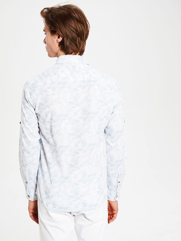 %100 Pamuk Ekstra Slim Fit Desenli Gömlek