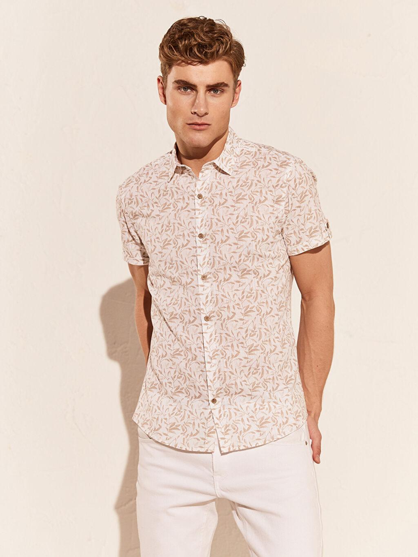 %100 Pamuk Desenli Kısa Kol Gömlek Düğmesiz En Dar Ekstra Slim Fit Desenli Gömlek