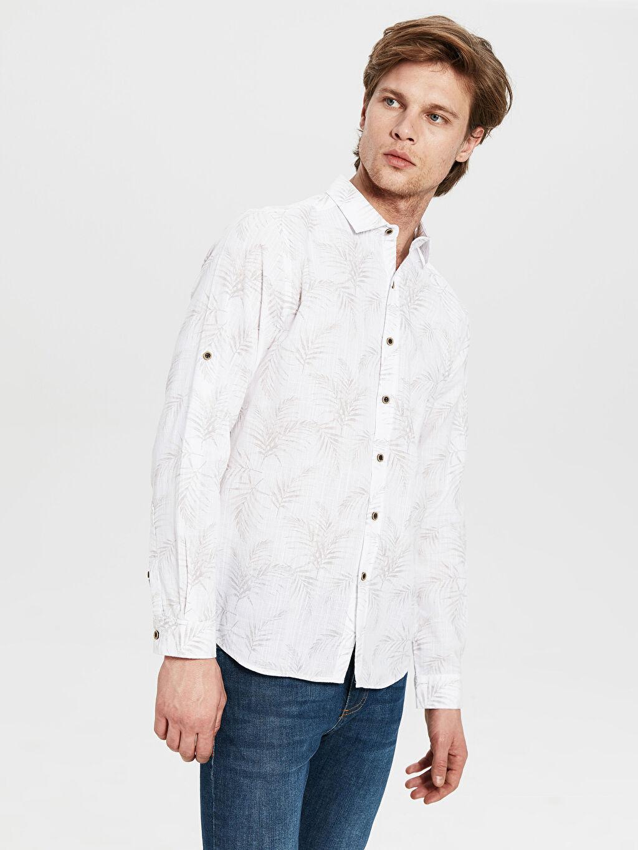 Gri Ekstra Slim Fit Desenli Gömlek 0SJ782Z8 LC Waikiki