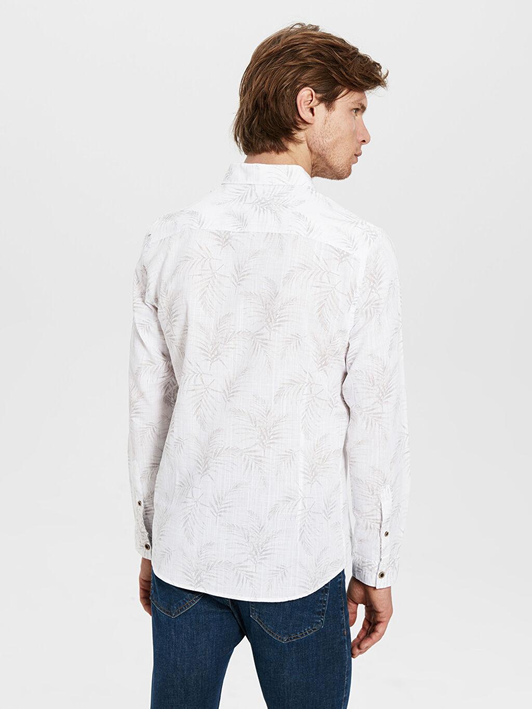 %100 Pamuk Desenli En Dar Gömlek Düğmesiz Ekstra Slim Fit Desenli Gömlek