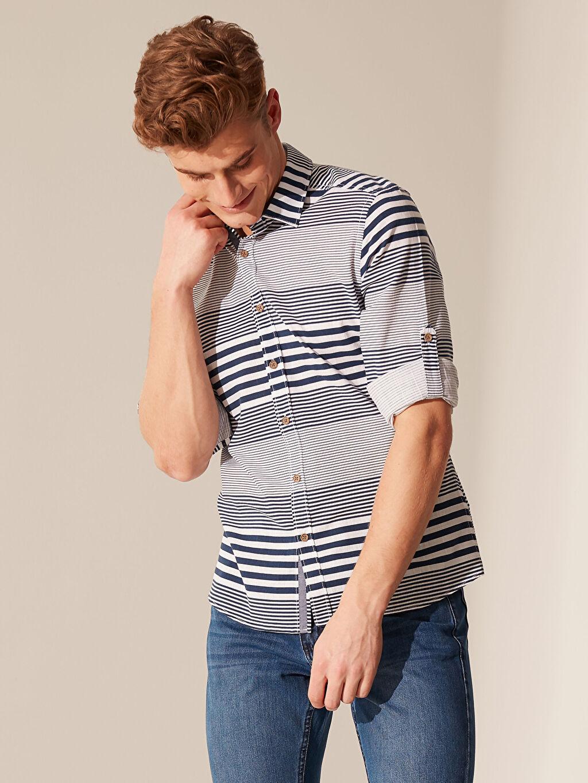 %100 Pamuk Çizgili En Dar Uzun Kol Gömlek Düğmesiz Ekstra Slim Fit Çizgili Poplin Gömlek