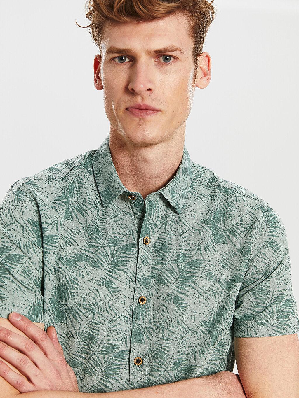 %100 Pamuk Desenli En Dar Kısa Kol Gömlek Düğmesiz Ekstra Slim Fit Desenli Gömlek