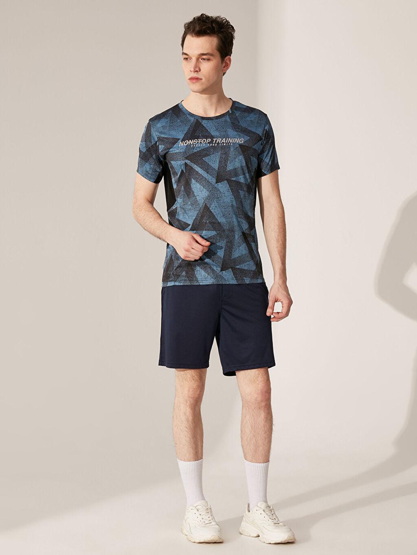 %100 Polyester Bisiklet Yaka Desenli Aktif Spor Tişört