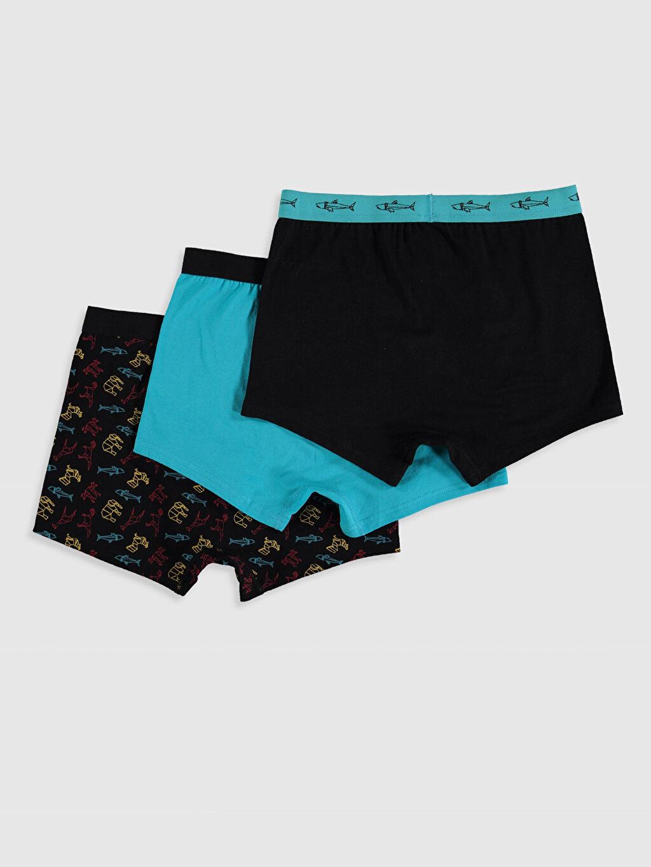 %95 Pamuk %5 Elastan Standart İç Giyim Alt Esnek Kumaş Desenli Boxer 3'lü