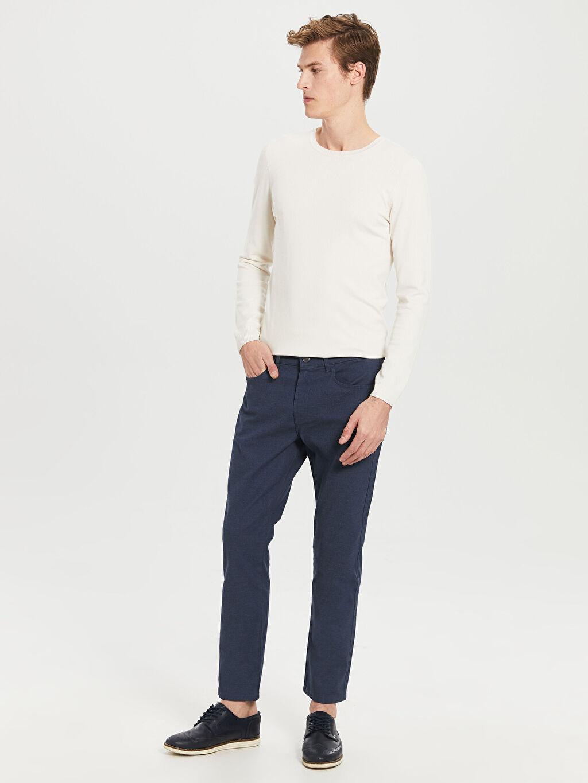 %76 Pamuk %21 Polyester %3 Elastan Normal Bel Dar Pilesiz Pantolon Normal Bel Dar Pilesiz Pantolon