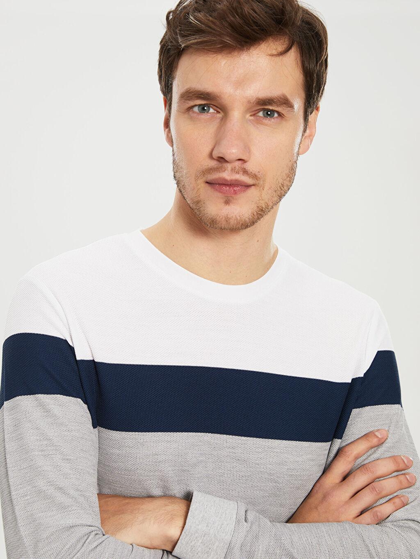 Erkek Çizgili Uzun Kollu Bisiklet Yaka Tişört