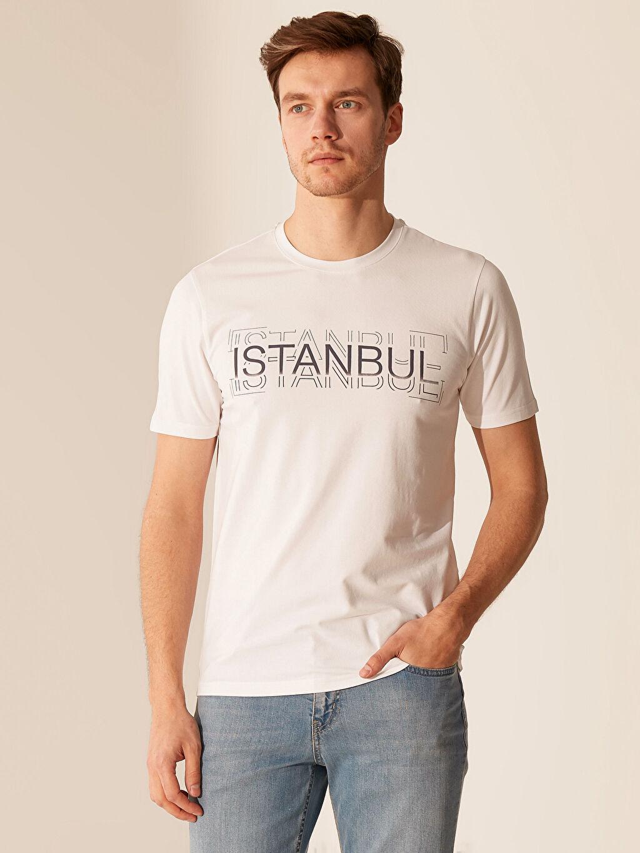 Ekru İstanbul Temalı Bisiklet Yaka Tişört 0SL686Z8 LC Waikiki