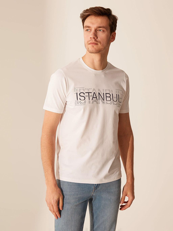 %96 Pamuk %4 Elastan Baskılı Standart Kısa Kol Tişört Bisiklet Yaka İstanbul Temalı Bisiklet Yaka Tişört
