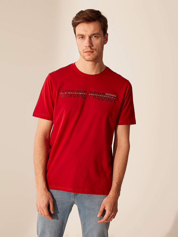 Kırmızı Bisiklet Yaka Baskılı Penye Tişört 0SL732Z8 LC Waikiki