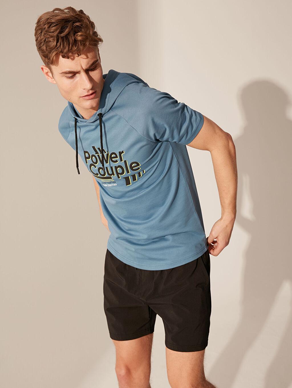 Erkek Kapüşonlu Aktif Spor Tişört