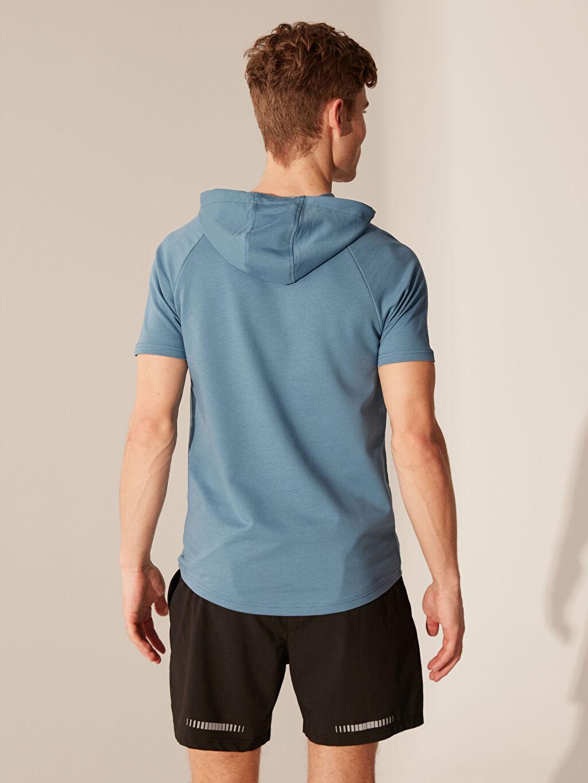 %74 Pamuk %26 Polyester Kapüşonlu Aktif Spor Tişört