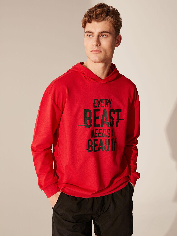 Erkek Kapüşonlu Baskılı Aktif Spor Sweatshirt
