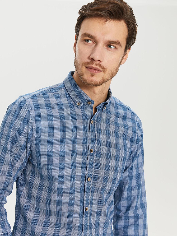 Erkek Kareli Dar Uzun Kollu Gömlek