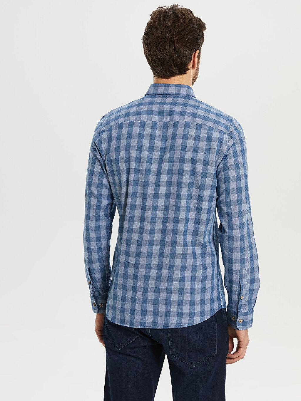 %100 Pamuk Kareli Dar Uzun Kollu Gömlek