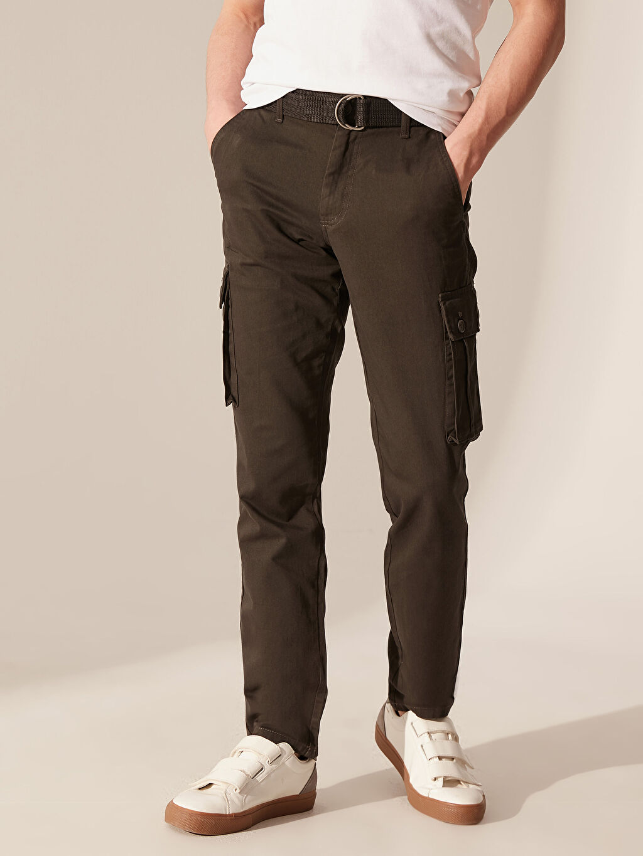 Erkek Regular Fit Gabardin Kargo Pantolon