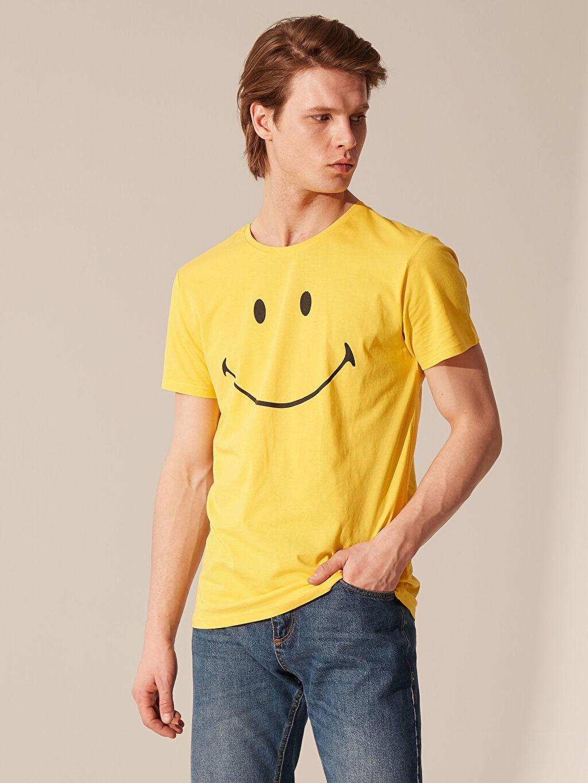 Sarı Smiley Bisiklet Yaka Penye Tişört 0SM441Z8 LC Waikiki